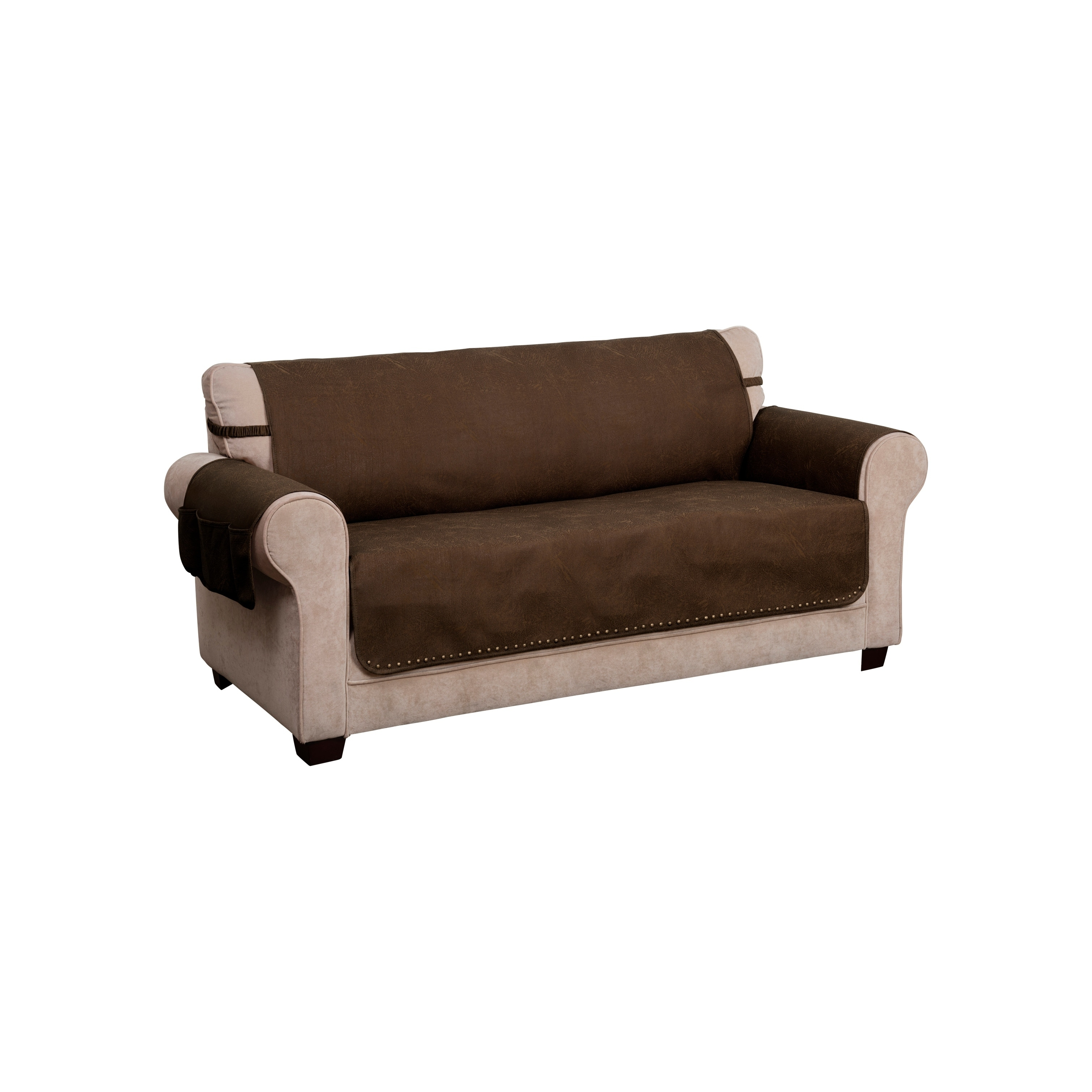 faux leather solid sofa furniture cover slipcover