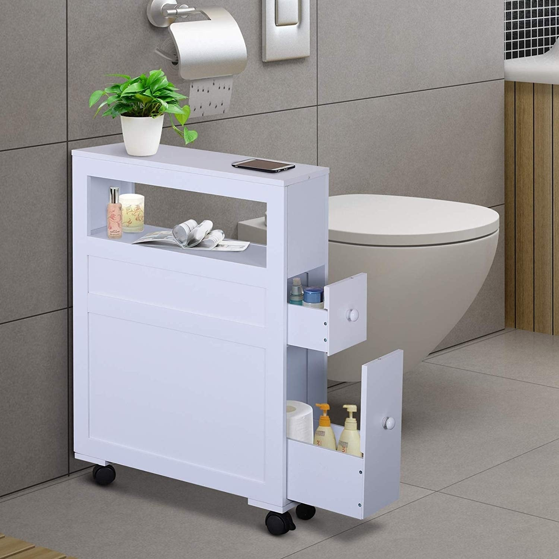 Shop Wood Rolling Narrow Bathroom Side Storage Cabinet On Sale Overstock 27565256