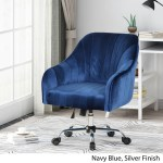 Channeled Glam Velvet Home Office Chair With Swivel Base By Christopher Knight Home Overstock 27578115 Black Silver Finish