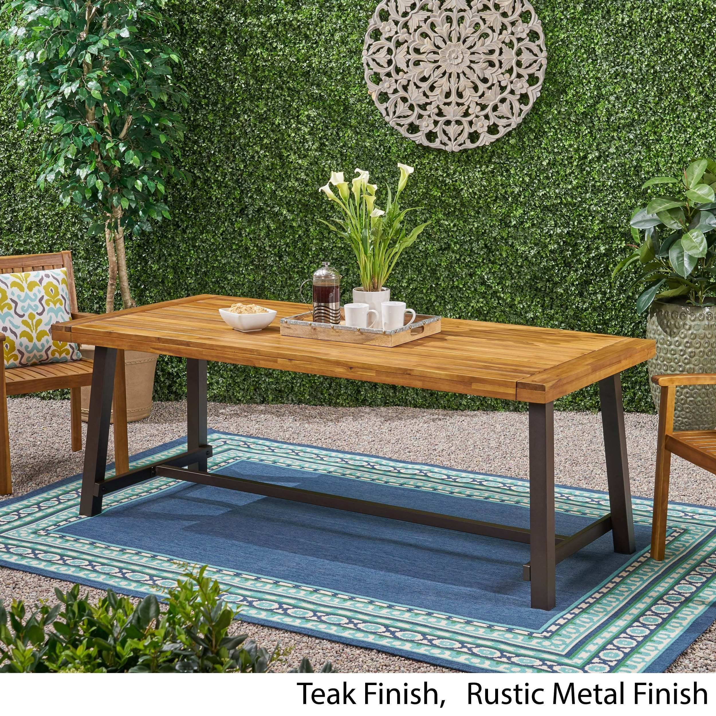 carlisle outdoor eight seater wooden dining table by christopher knight home