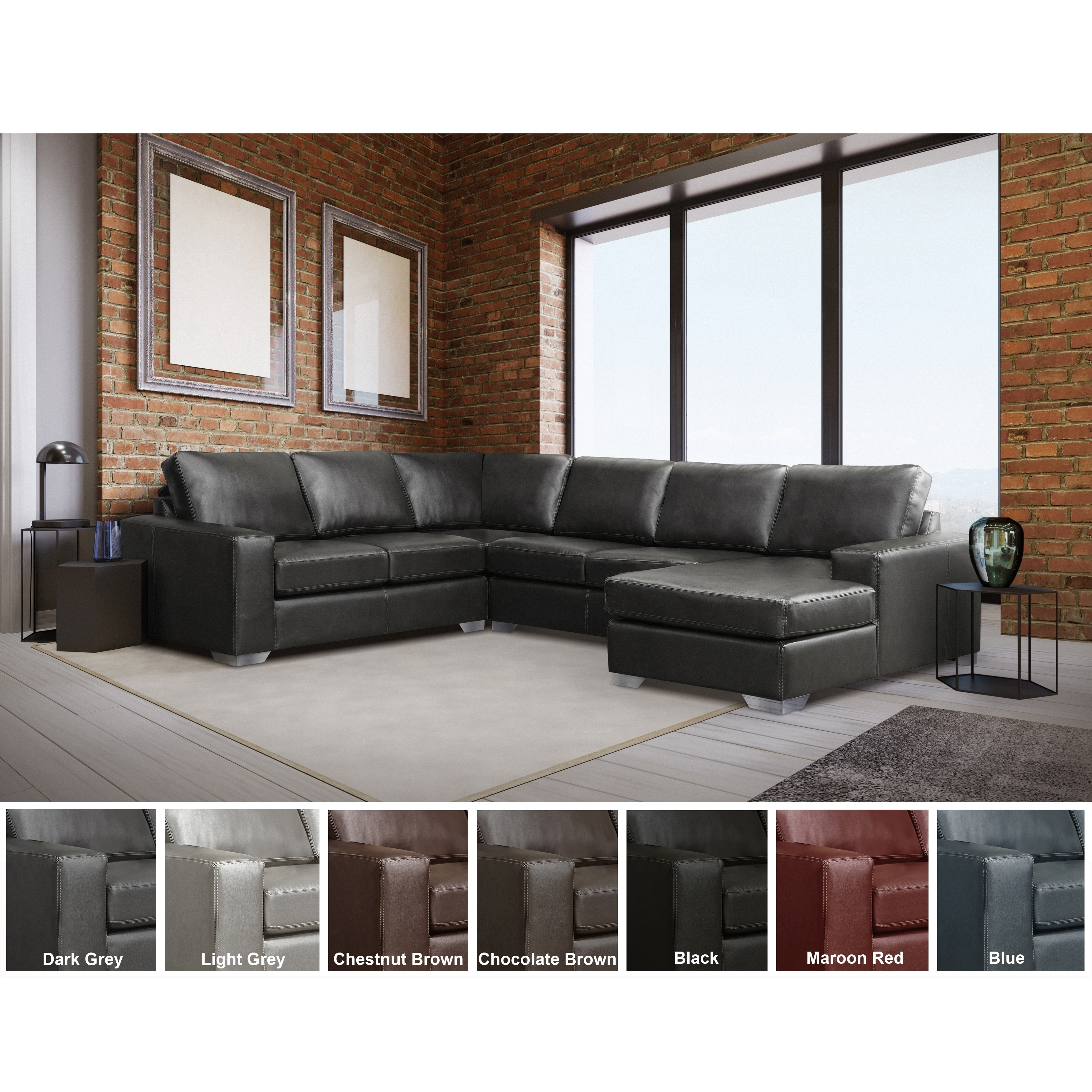 Shop Black Friday Deals On Mitchell Modern Premium Top Grain Italian Leather Sectional Sofa On Sale Overstock 27617560