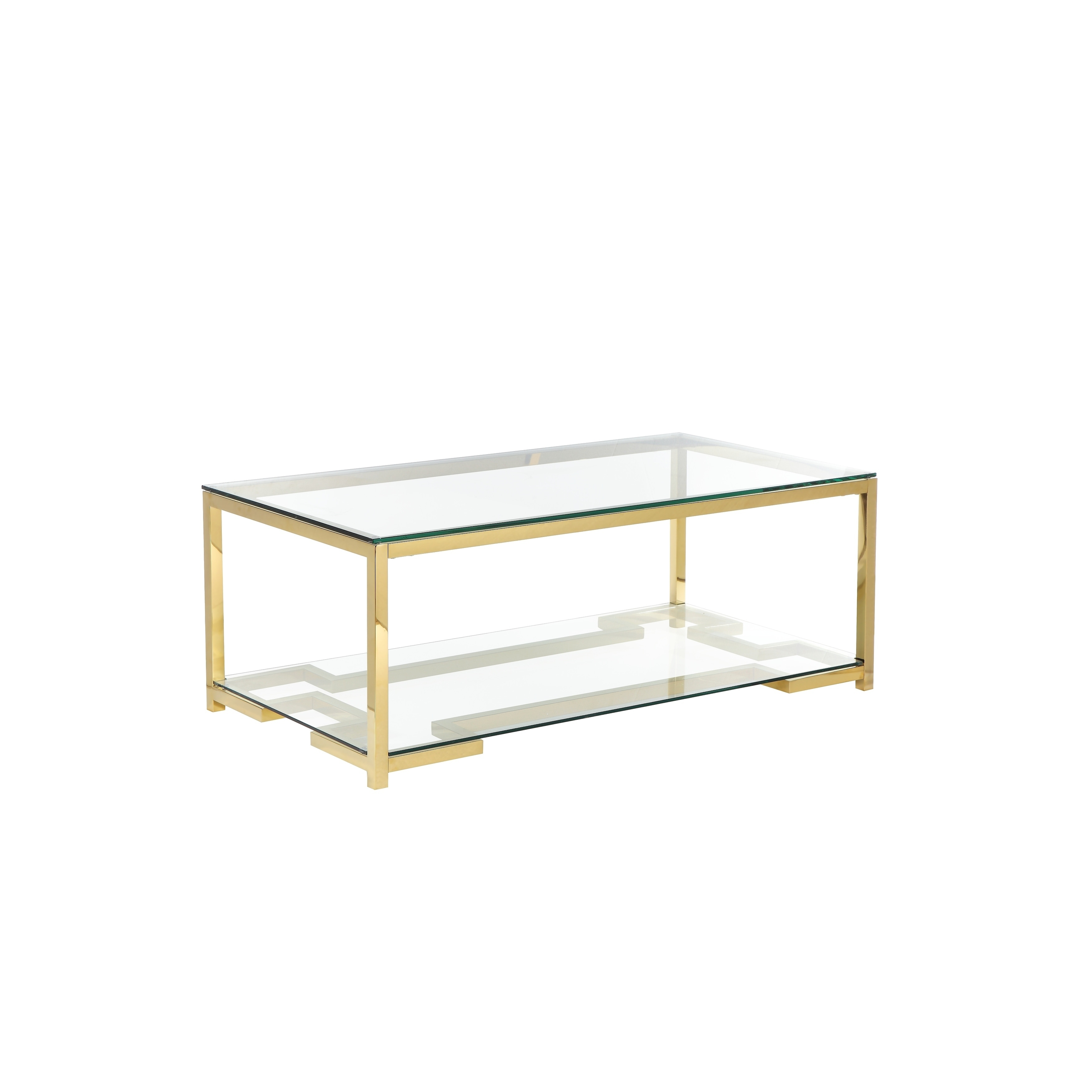 glass coffee table with geometric metal base and open shelf gold and clear