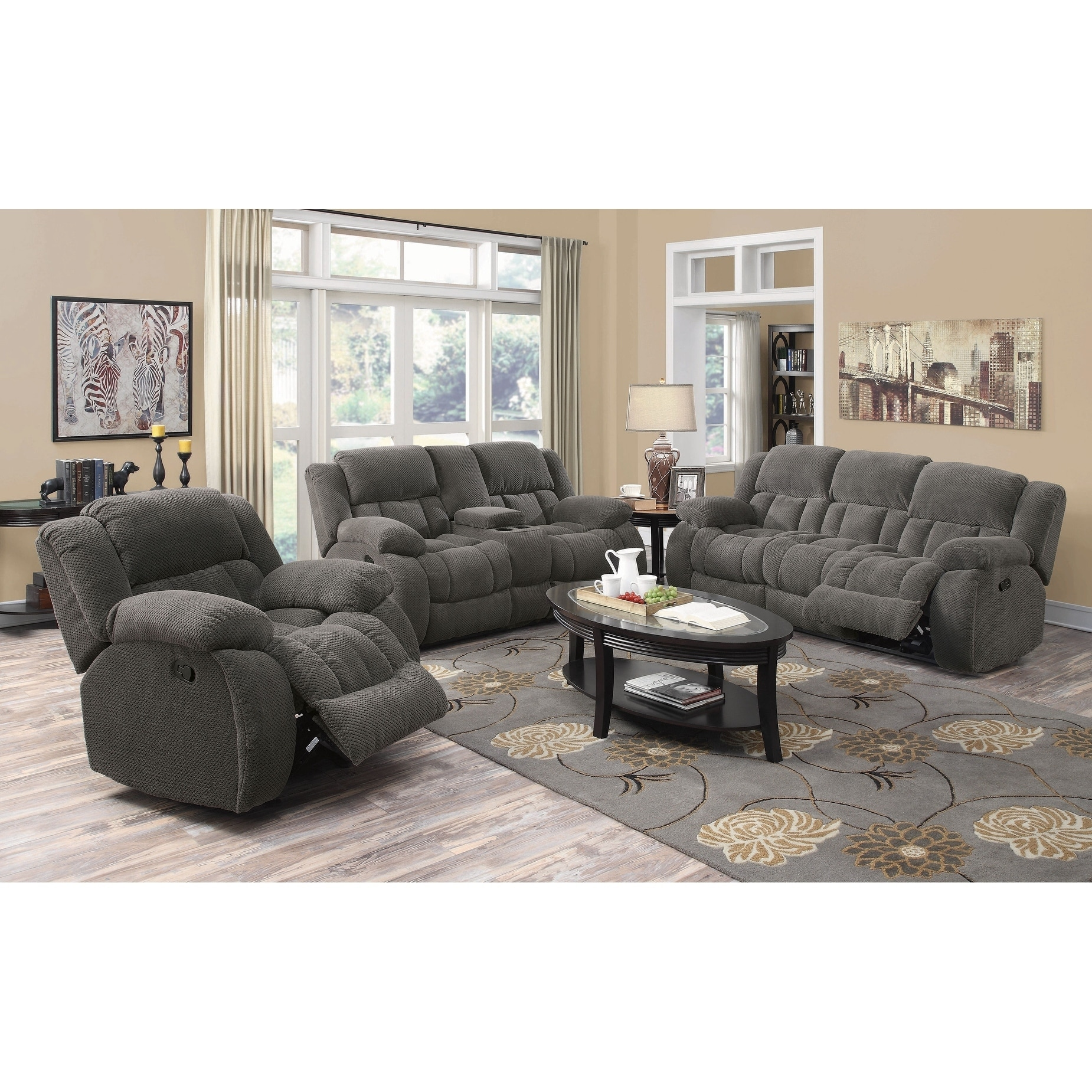 Gerardo 3 Piece Plush Reclining Living Room Set