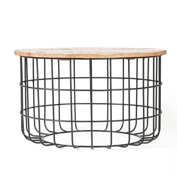 Auxon Black, Natural Wood Cage Coffee Table by Madeleine Home