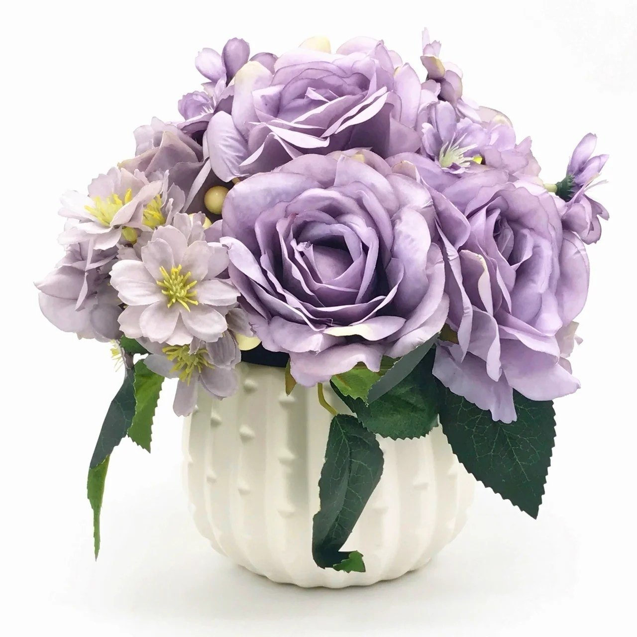 Shop Enova Home Purple Open Rose And Mixed Silk Artificial Flower Arrangement With White Ceramic Vase Overstock 27869323