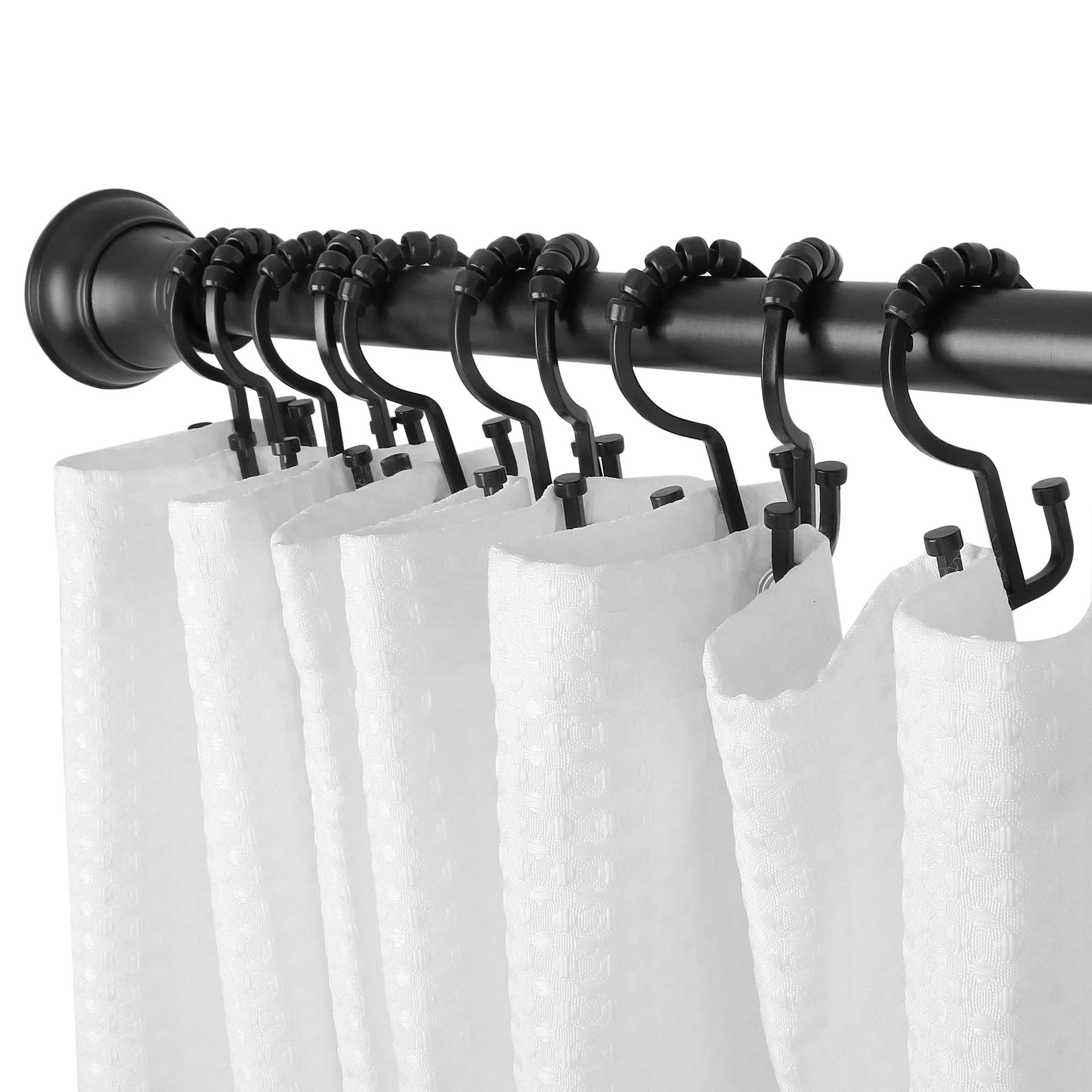 Utopia Alley Deco Flat Double Roller Shower Curtain Hooks Black