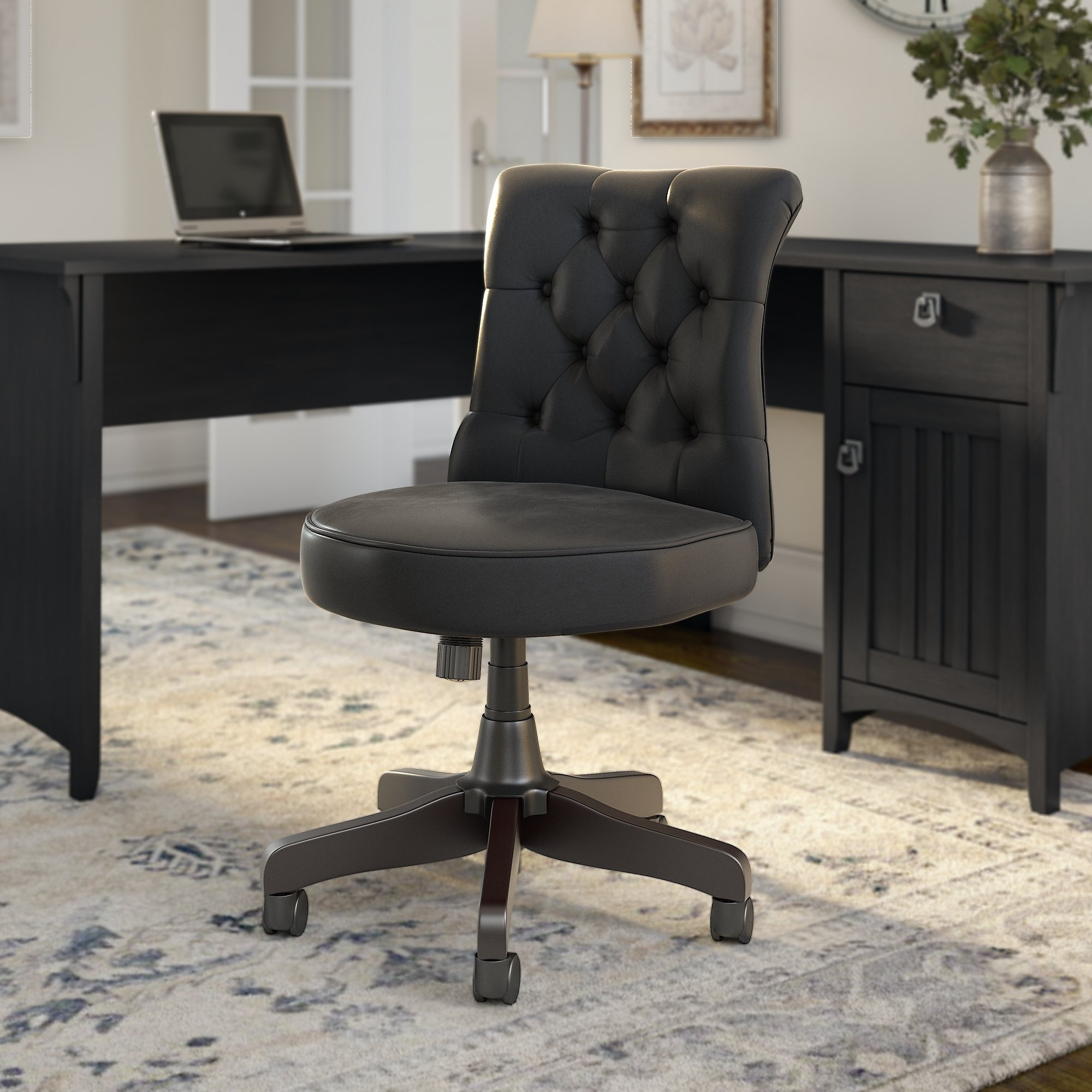 hight resolution of the gray barn hickory place mid back tufted office chair