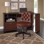 Bush Furniture Cabot 60w Corner Desk With Mid Back Tufted Office Chair