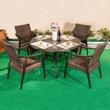 outdoor 5 piece wicker dining