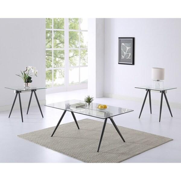 rosario 3 piece coffee table set grey