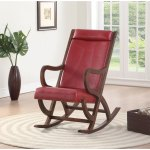 Faux Leather Upholstered Wooden Rocking Chair With Looped Arms Brown And Red Overstock 28064305