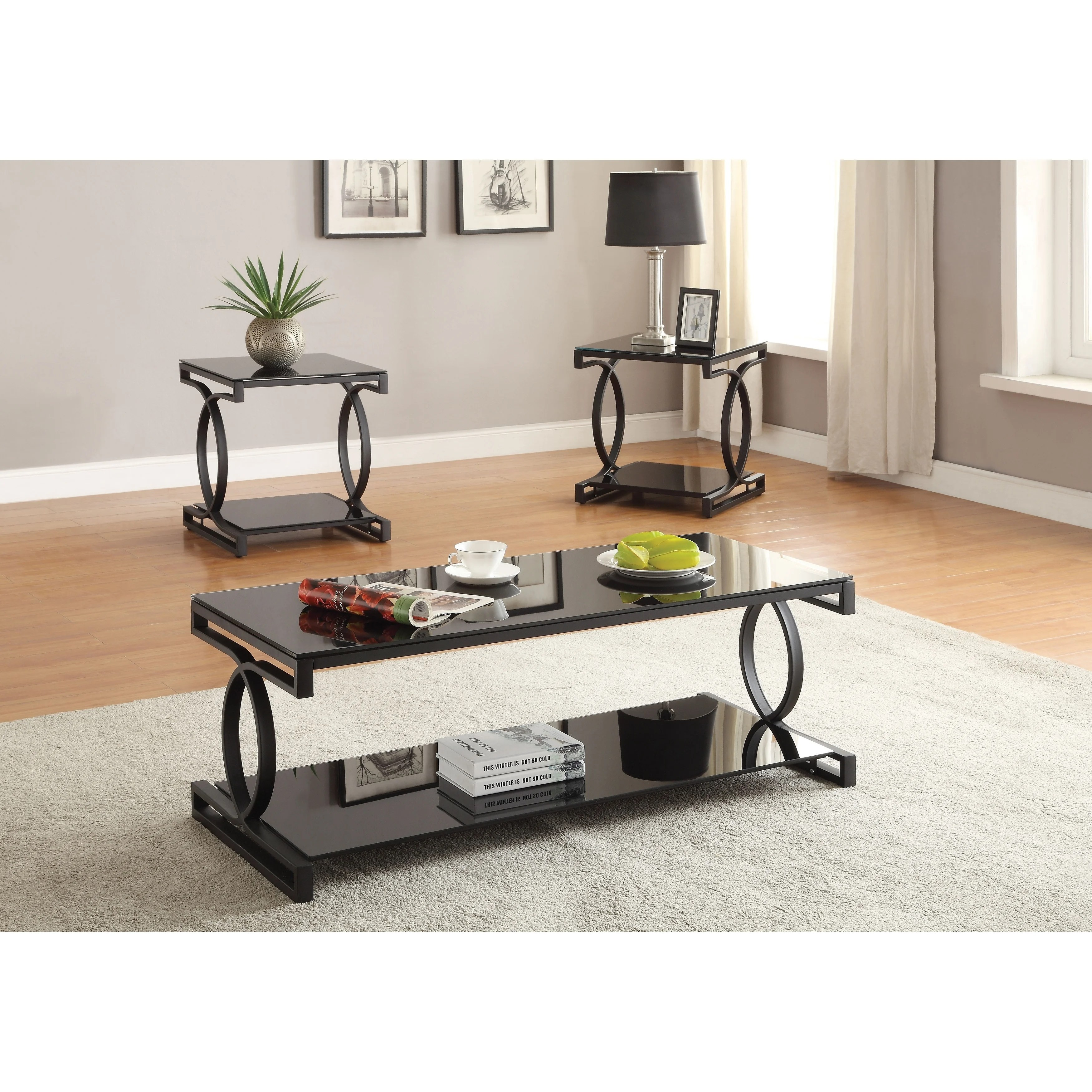 Metal And Glass Coffee Table Set With Two End Tables Pack Of Three Black Overstock 28064308