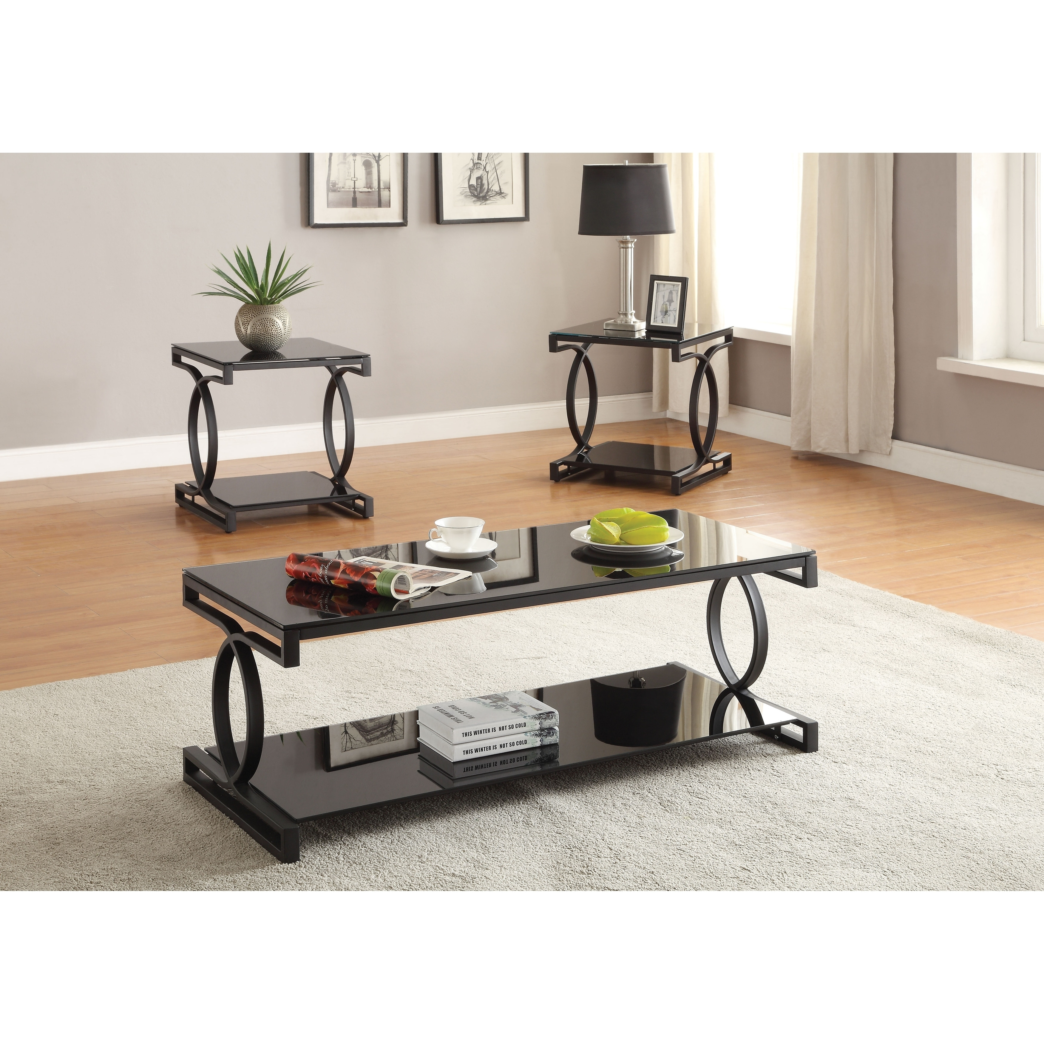 Shop Metal And Glass Coffee Table Set With Two End Tables Pack Of Three Black Overstock 28064308