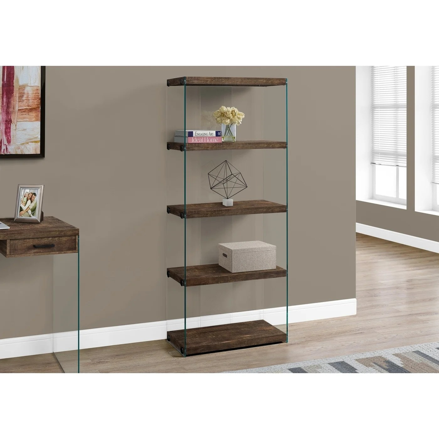 Bookcase 60 H Brown Reclaimed Wood Look Glass Panels
