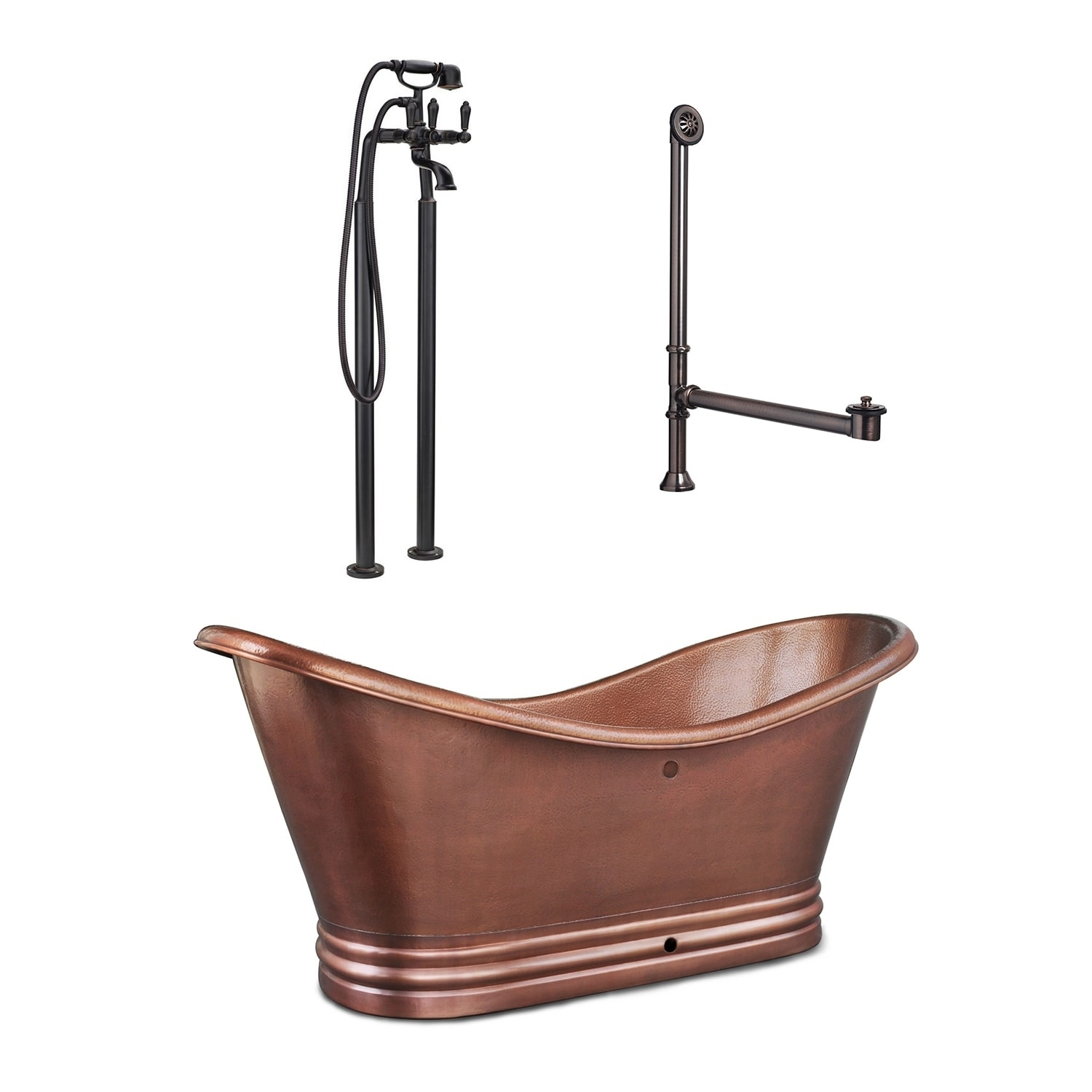 Shop Euclid 6 Ft All In One Solid Copper Freestanding Bathtub Kit With Pfister Faucet And Drain And Overflow In Antique Copper On Sale Overstock 28153217