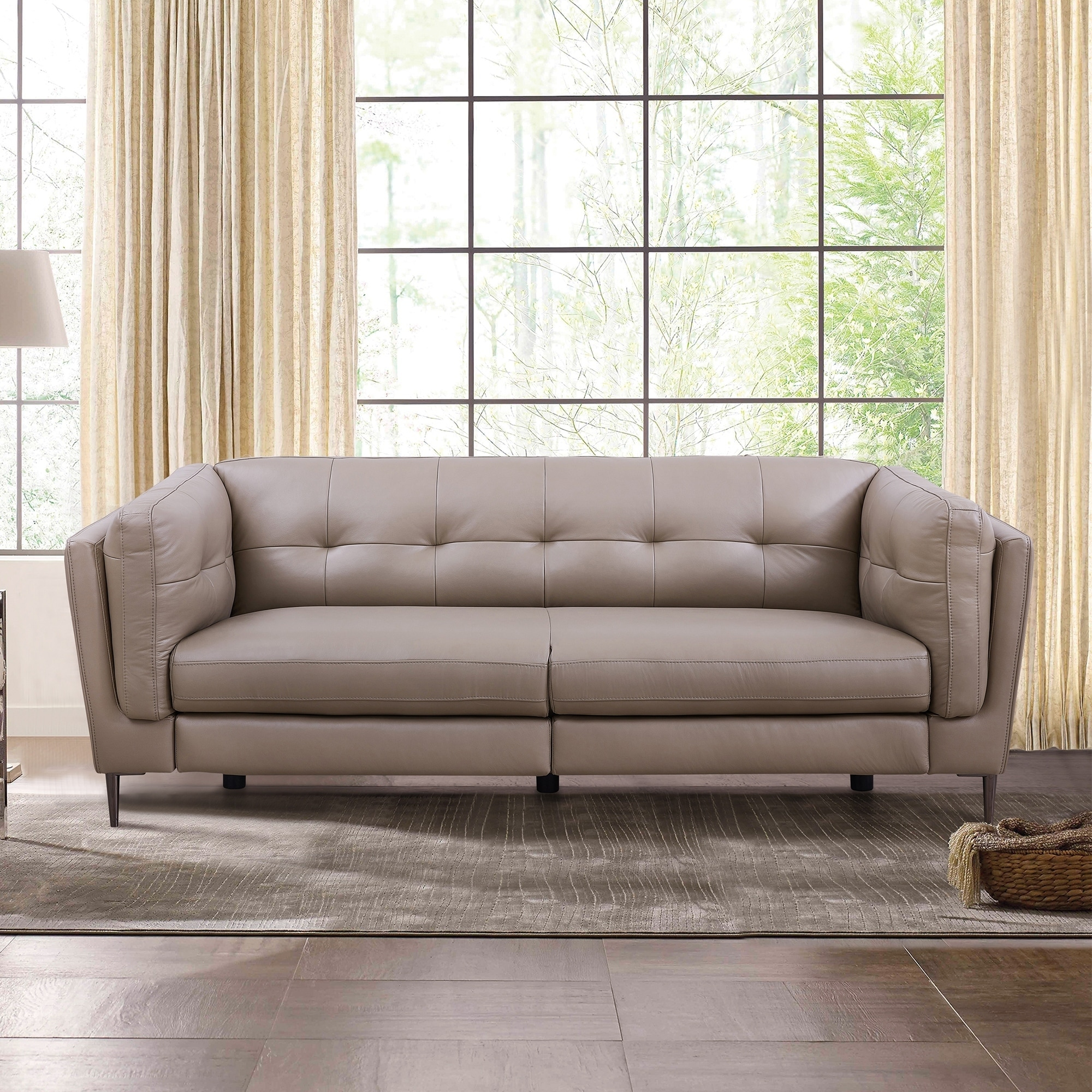 Primrose Contemporary Top Grain Leather Power Recliner Sofa With Usb