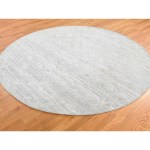 Shahbanu Rugs Silver Round Hand Spun Undyed Natural Wool Modern Hand Knotted Rug 8 1 X 8 1 8 1 X 8 1