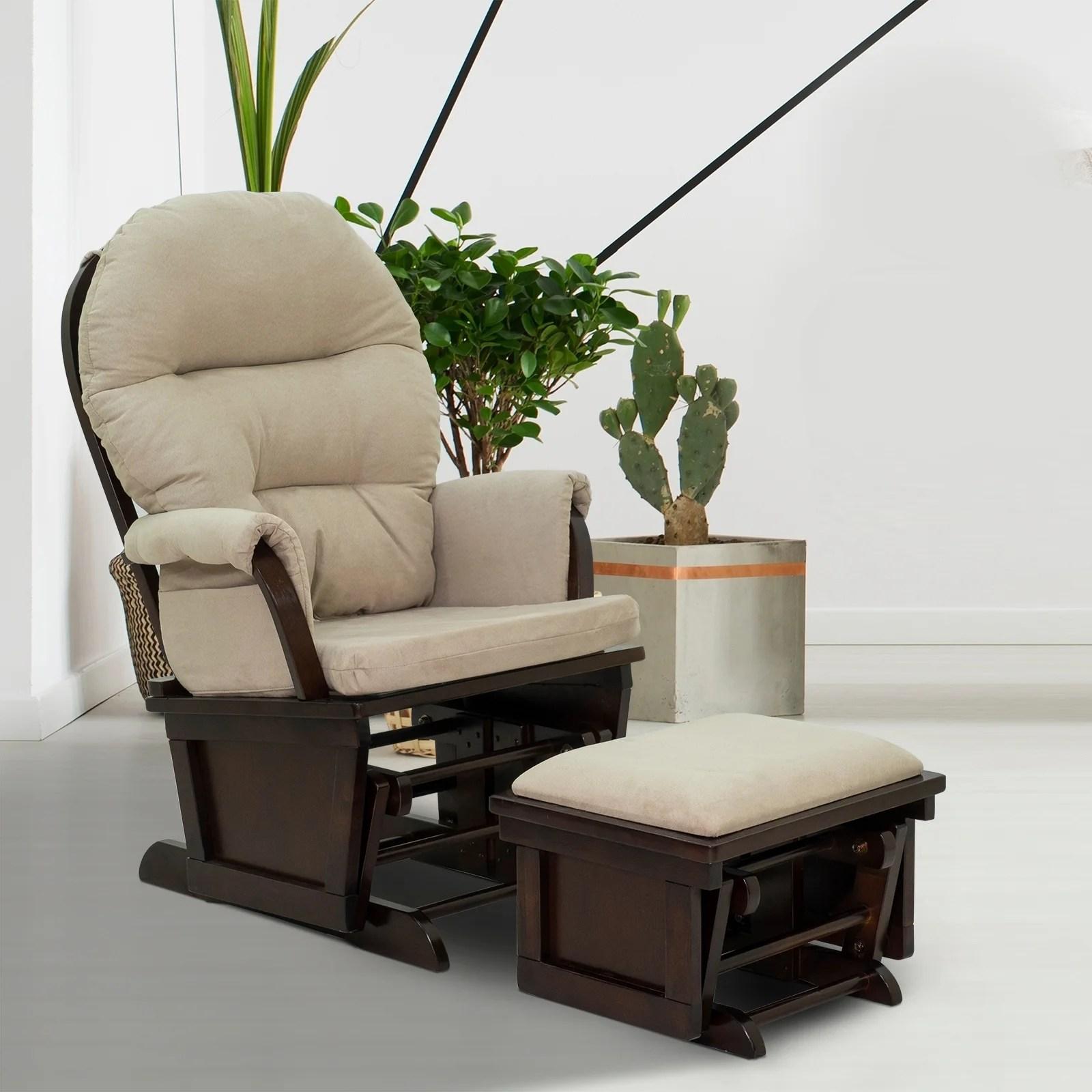 Homcom Nursery Glider Slider Rocking Chair With Ottoman Set Overstock 28258359 Cream