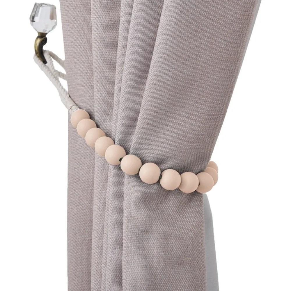 bad students dametta macaron wooden bead curtain tieback set of 2