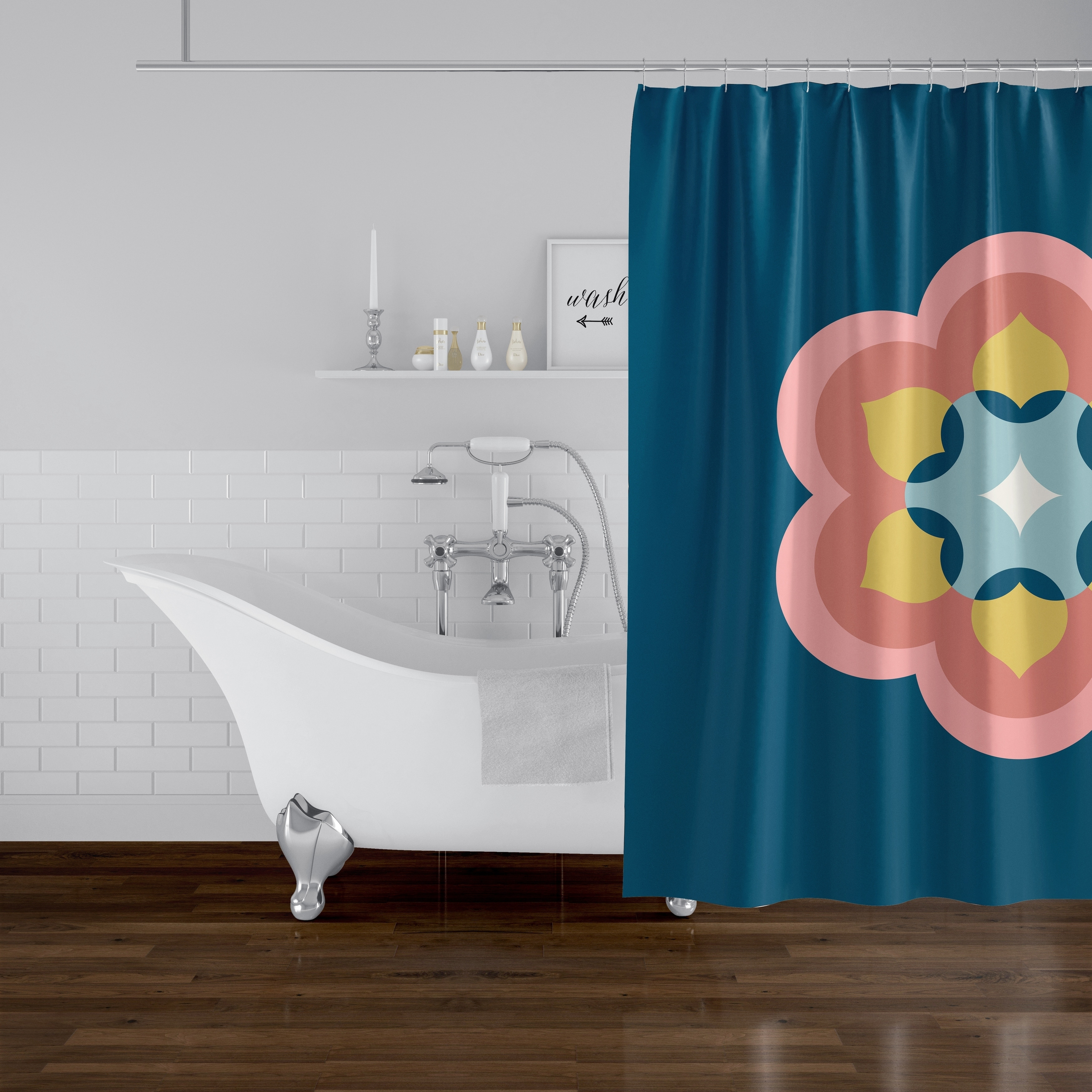 modern bloom navy coral shower curtain by kavka designs