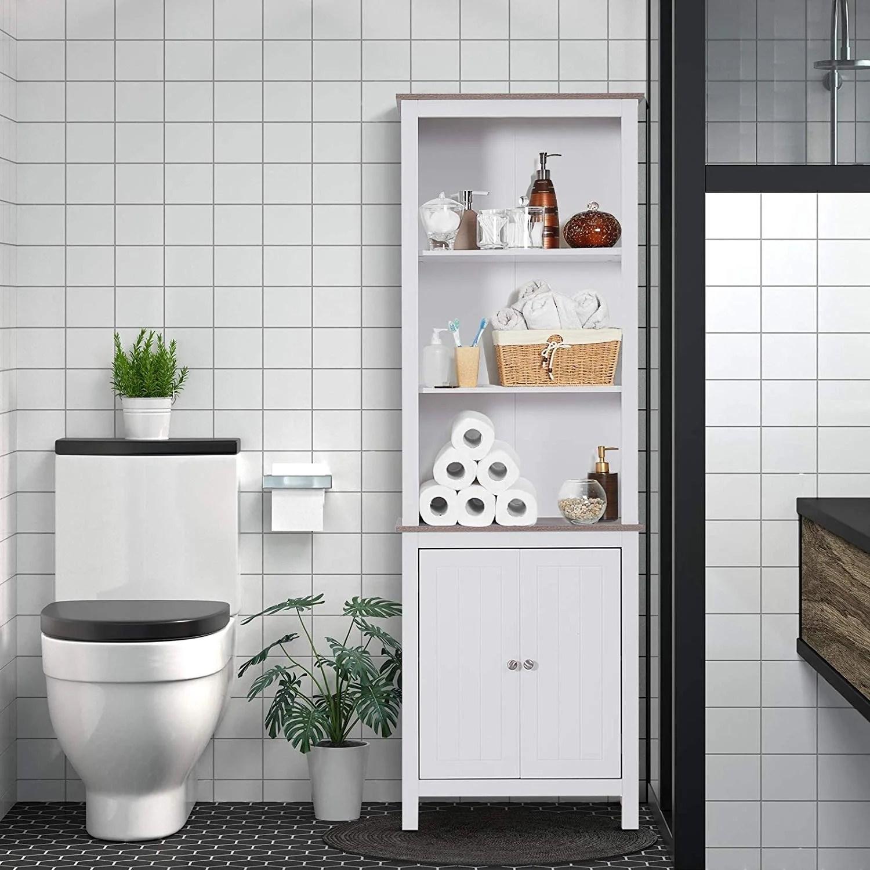 Shop Free Standing Bathroom Linen Tower Storage Cabinet 23 75 W X 11 75 D X 69 H Overstock 28302734