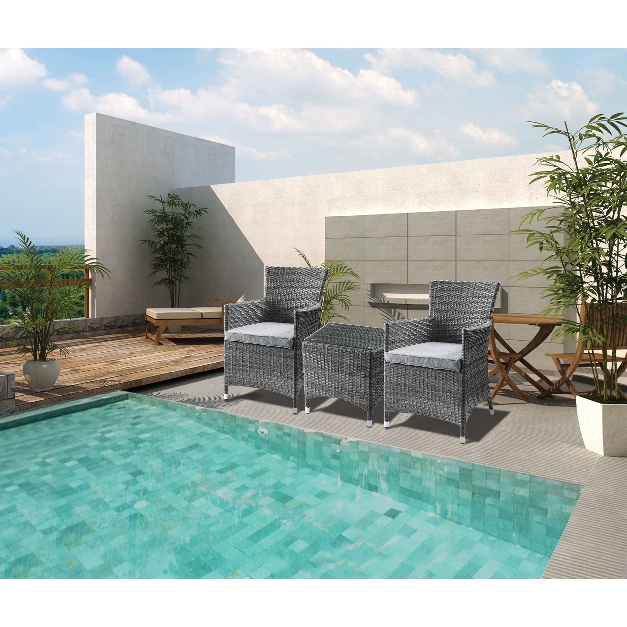 resin wicker and metal patio bistro set with two chairs and glass top table gray set of three