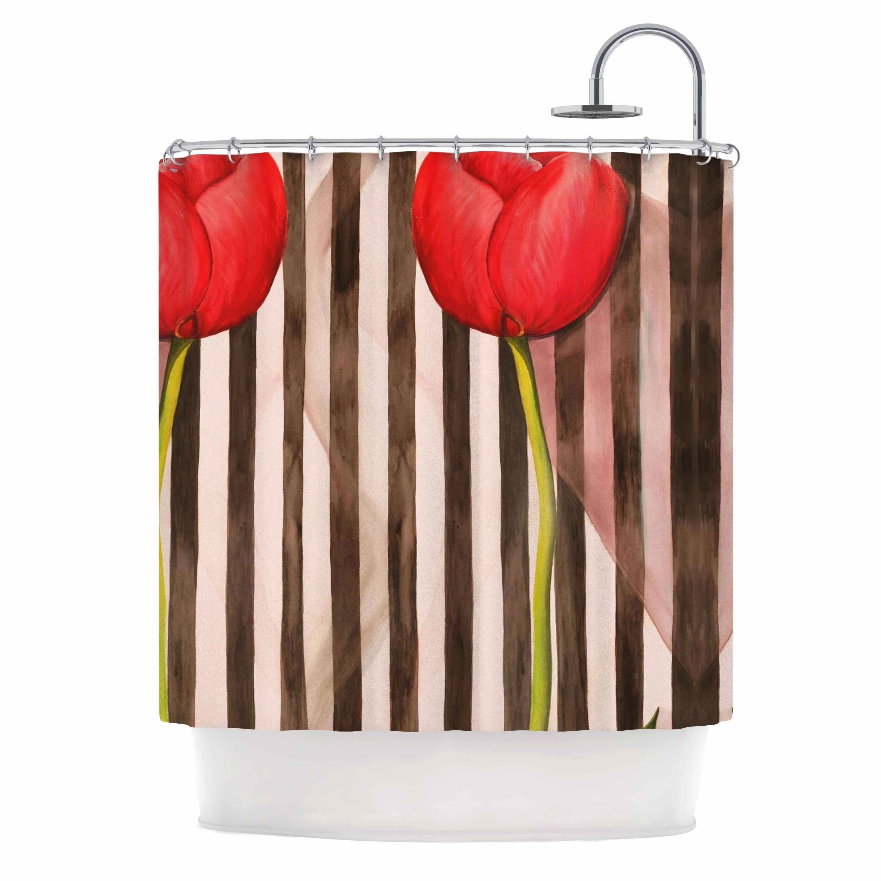 S Seema Z Classic Rose Red Stripes Shower Curtain
