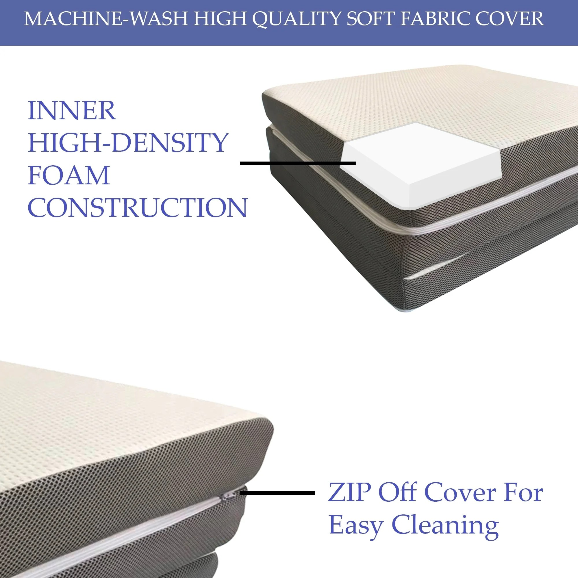 Tri Fold Mattress Memory Foam Guest Pad Camping 4 Inch Topper Support Cover Bed Mattress Pads Feather Beds Bedding