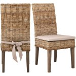 Rattan Wicker Wood Dining Chairs With Cushion Seat Pads Set Of 2