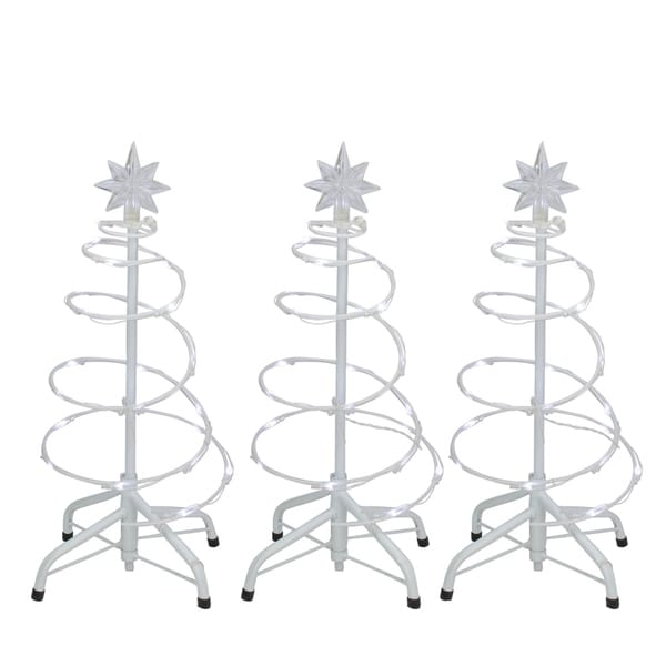 Shop Set of 3 LED Lighted Spiral Cone Walkway Christmas
