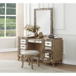 Wooden Vanity Desk With Seven Drawers And Mirror Accents Brown And Gold Overstock 28526913