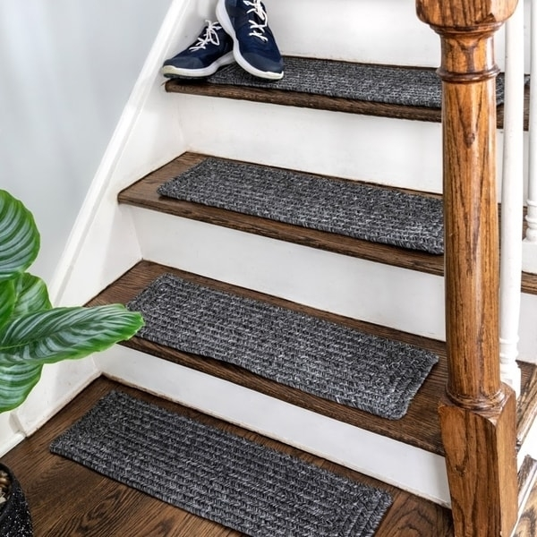 Shop Nuloom Solid Indoor Outdoor Braided Stair Treads Set Of 13   Best Outdoor Stair Treads   Stair Stringers   Wood   Carpet   Spiral Staircase   Carpet Stair
