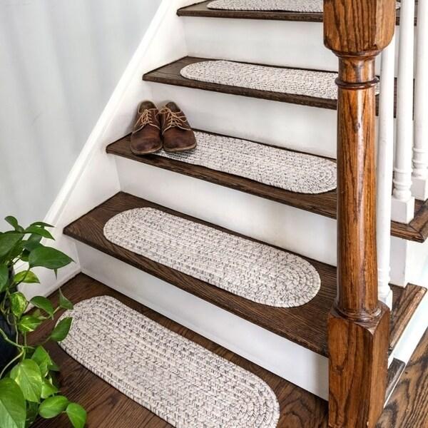 Shop Nuloom Solid Indoor Outdoor Braided Stair Treads Set Of 13 | Outdoor Carpet Stair Treads | Indoor Outdoor | Flooring | Ottomanson Jardin | Non Skid | Anti Slip