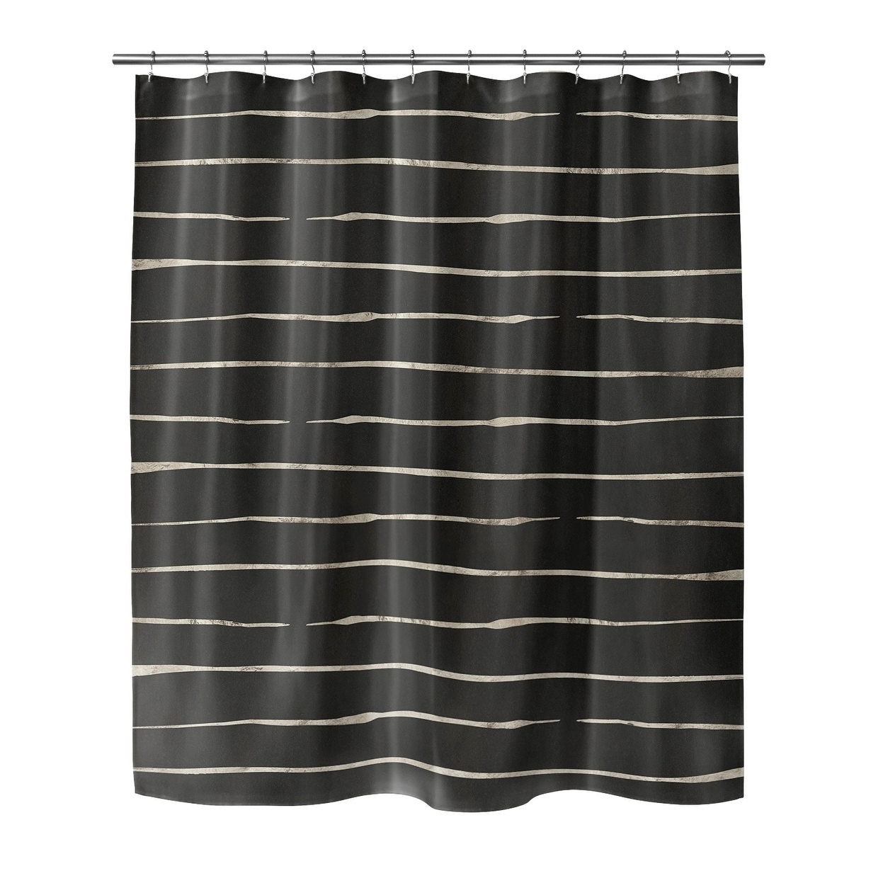 wavy abyss black small shower curtain by kavka designs