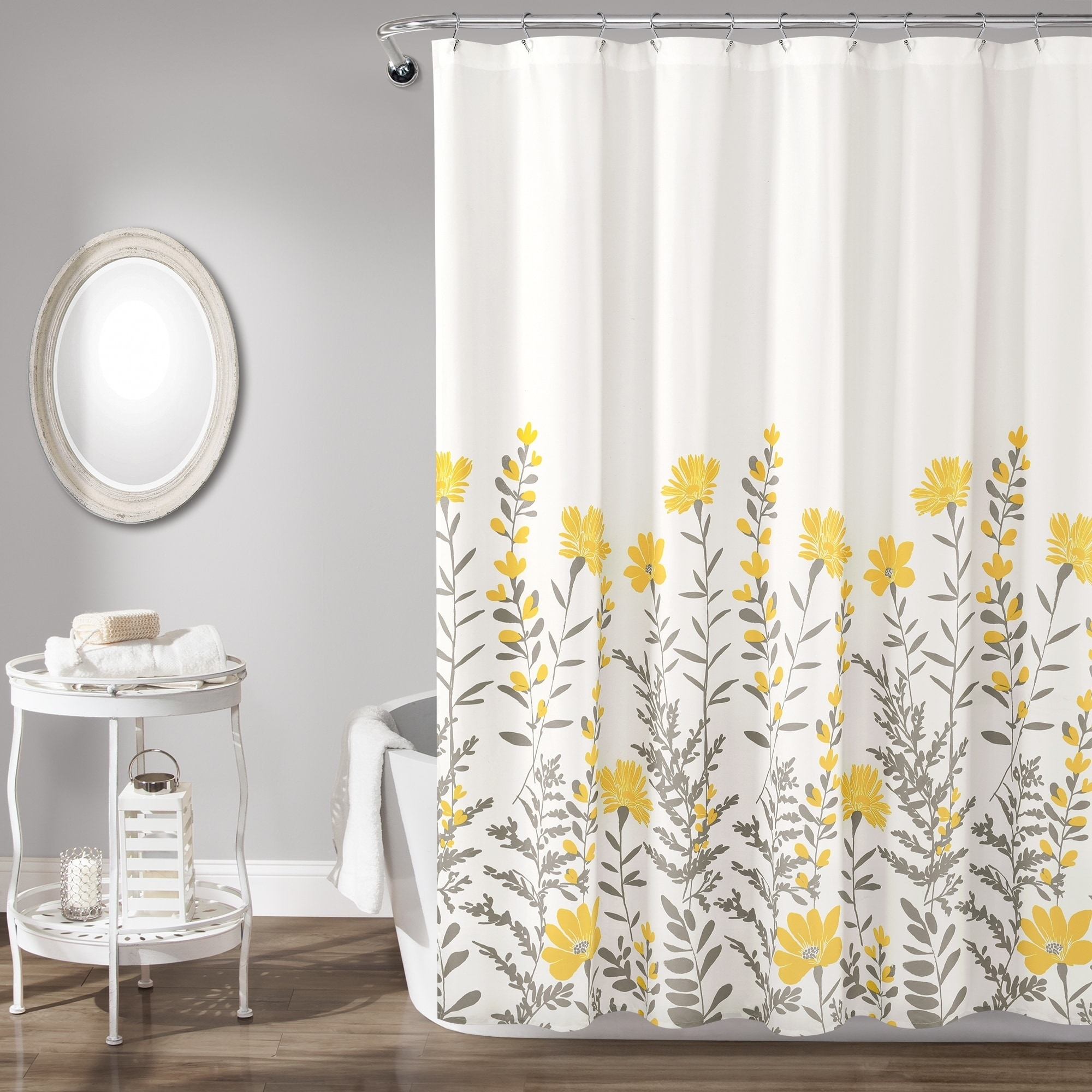 porch den maidenfern grey yellow flower shower curtain