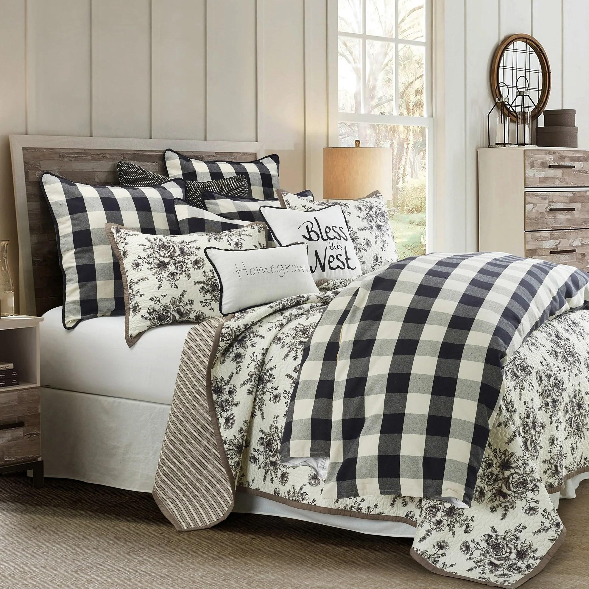 hiend accents camille comforter set super king black white 3pc