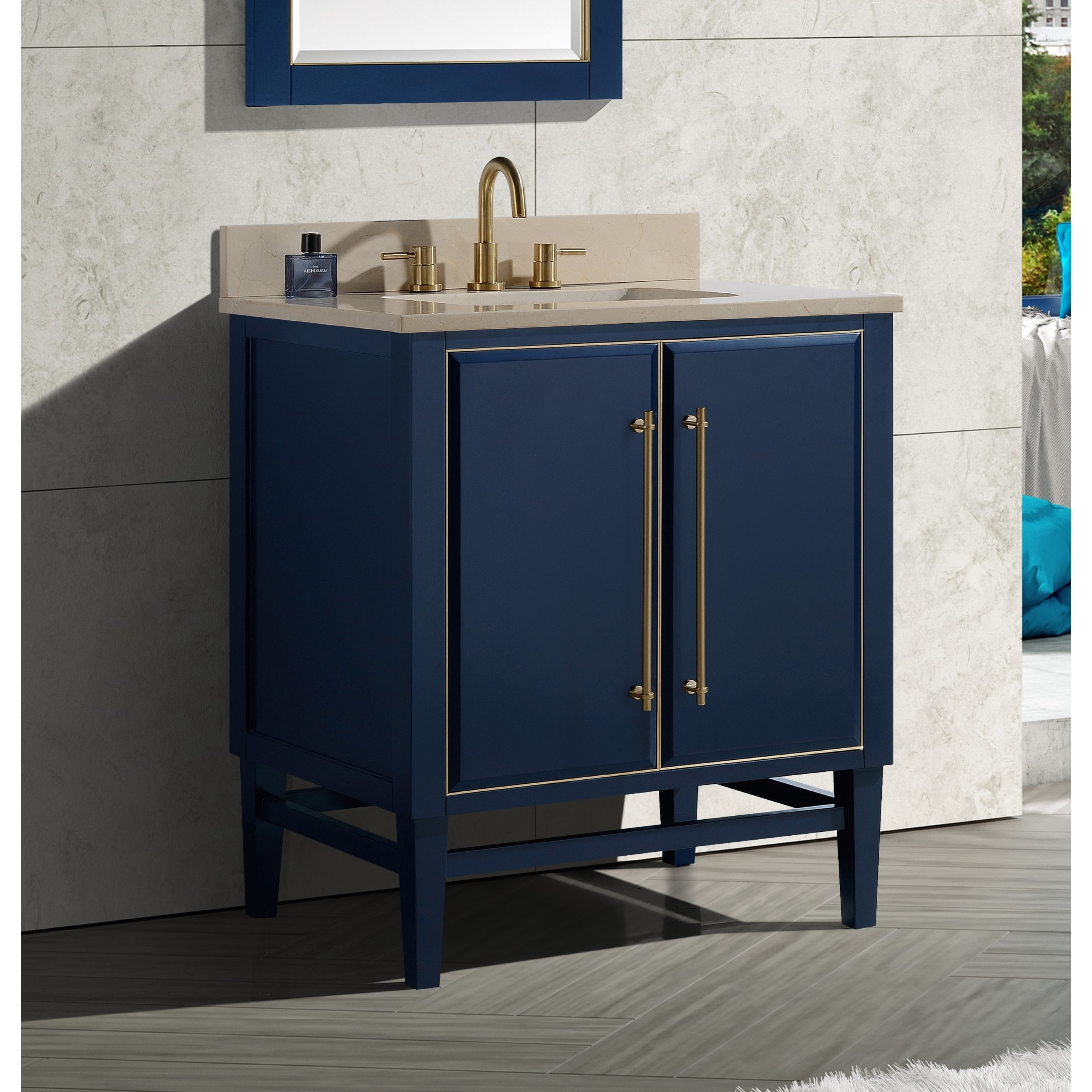 Shop Avanity Mason 31 In Single Sink Bathroom Vanity Set In Navy Blue With Gold Trim Overstock 28670947 Crema Marfil Marble