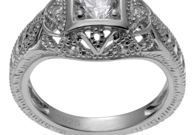 Art Deco Engagement Ring With Cz