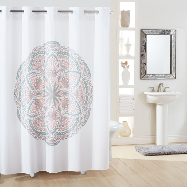 hookless shower curtain henna medallion no window with liner blush