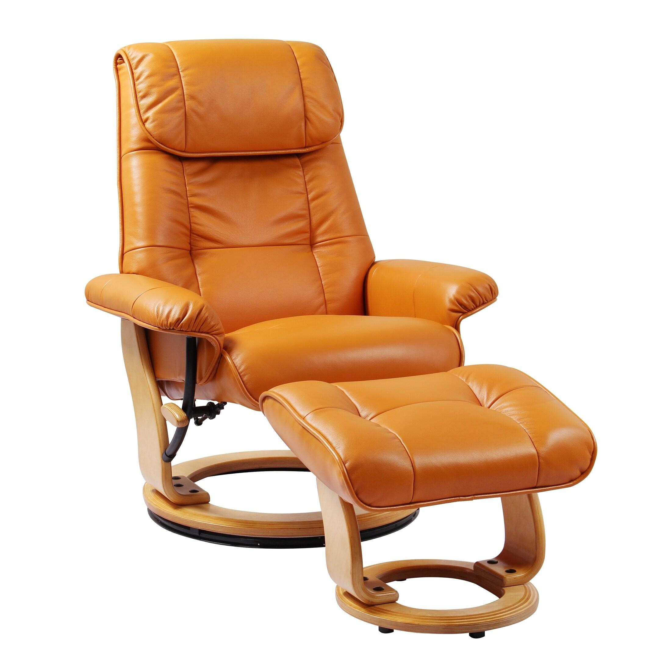 copper grove caret top grain leather recliner and ottoman