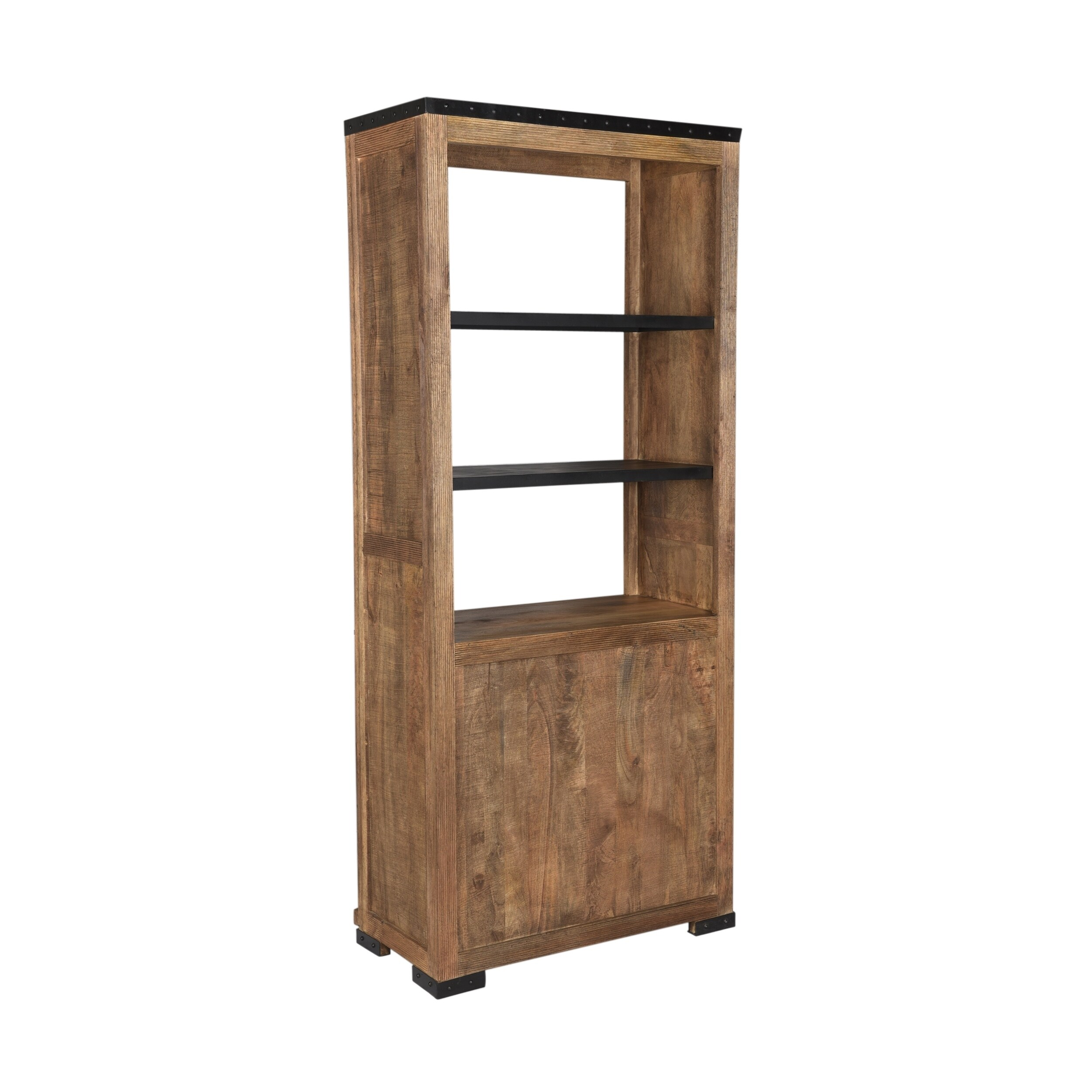 Cabrini Modern Industrial Mango Wood Bookcase By Christopher Knight Home 35 50 W X 18 50 D X 83 00 H
