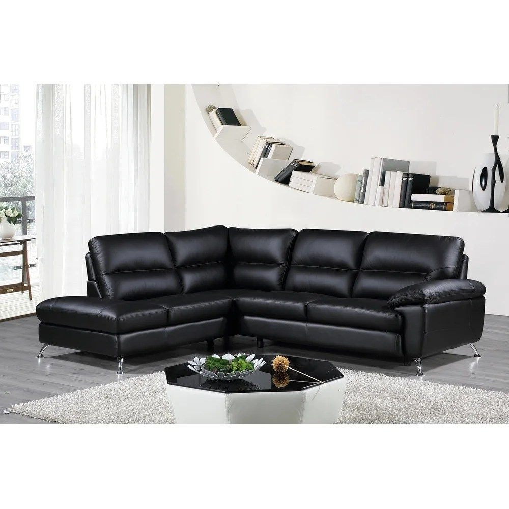 cortesi home contemporary boston genuine leather sectional sofa with left chaise lounge black 80 x98