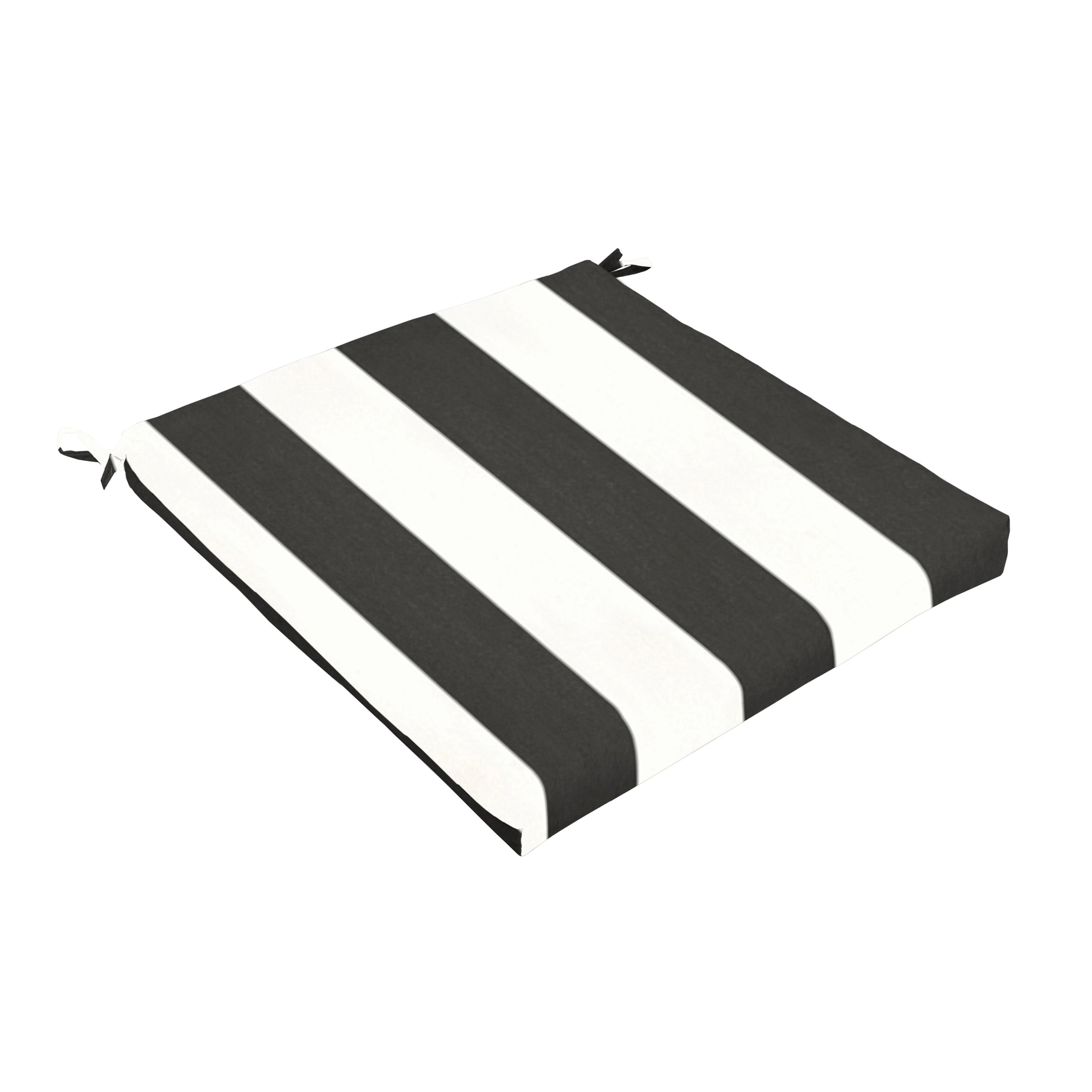 sunbrella black white stripe indoor outdoor chair cushion 20 in w x 20 in d