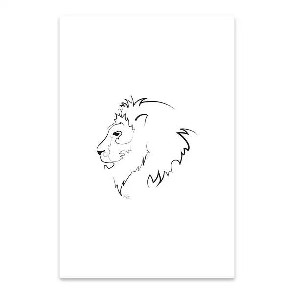 Shop Noir Gallery Lion Minimal Animal Line Drawing Metal