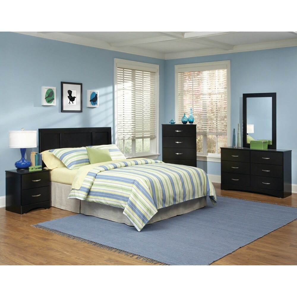 american furniture classics five piece queen full bedroom set including headboard five drawer chest six drawer dresser mirror and night stand 5