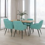 Wyndenhall Marsden Solid Hardwood And Metal 66 Inchwide Contemporary 7 Pc Dining Set With 6 Dining Chairs