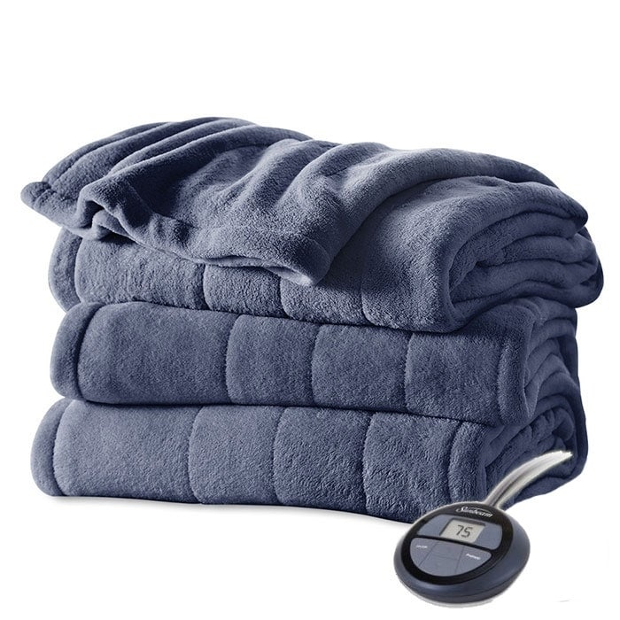 Sunbeam Electric Blanket Heated Fleece Winter Warming Bedding Twin Gray