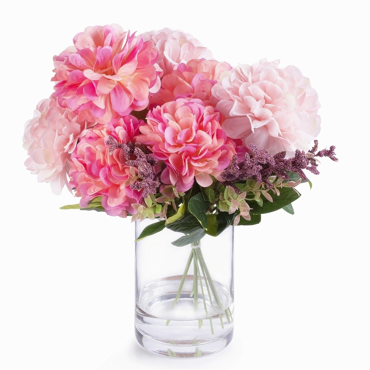 Shop Enova Home 7 Heads Pink Mixed Dahlia Silk Flower Arrangement In Glass Vase With Faux Water Overstock 29075674