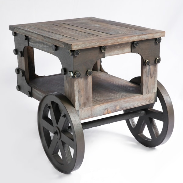industrial wagon style small rustic end