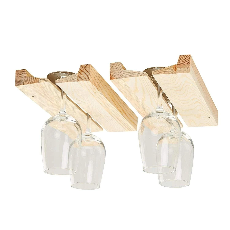 2 pack wooden wine glass rack under cabinet hanging glass rack holder 11 x 2 4 x 1 1